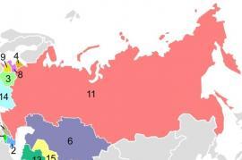 Mappa dell'URSS (fonte Wikicommons)