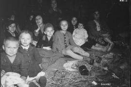 Donne e bambini liberati dal campo di concentramento di Lambach (Da Wikimedia Commons)