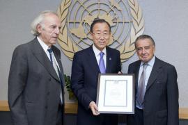 Baruch Tenembaum con Ban Ki Moon ed Eduardo Eurenkian