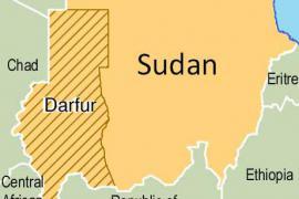 Mappa del Sudan con righe diagonali sul Darfur