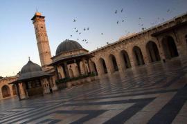 Il minareto della moschea degli Omayyadi prima della sua distruzione