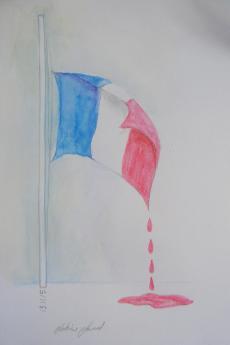 Vignetta disegnata in occasione degli attentati di Parigi dall'artista Sabina Schkolnik Saad