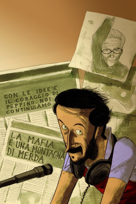 La copertina del fumetto su Impastato di Lelio Bonaccorso e Marco Rizzo