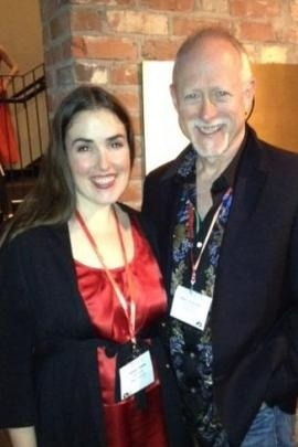 """Robert Schenkkan con un'attrice alla presentazione di """"Building the wall"""""""