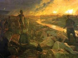 «Il massacro di Batak» (1889), un dipinto dell'artista e patriota bulgaro Antoni Piotrowski.