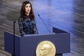 Nadia Murad alla cerimonia di assegnazione del Nobel
