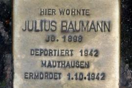 La pietra d'inciampo dedicata a Baumann a Stoccarda