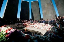 Memoriale delle vittime del genocidio armeno a Yerevan, Armenia, 24 aprile 2018.