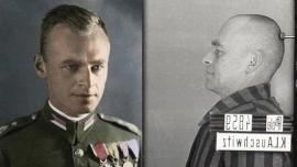 Witold Pilecki con la divisa miitare e nel campo di concentramento di Auschwitz