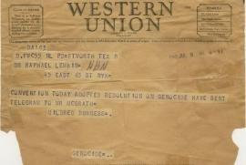 Telegramma di Mildred Burgess, 9 luglio 1948. Adottata la Risoluzione sul Genocidio.