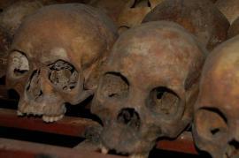 Teschi delle vittime del genocidio in Ruanda (fonte Wikicommons: utente The Dilly Lama)