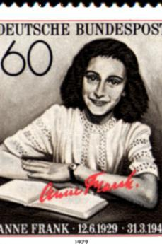 Il francobollo stampato dalla Repubblica Federale Tedesca per il centenario della nascita di Anna Frank (fonte Wikicommons, utente  Deutsche Post)