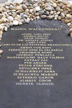 Il memoriale dei giusti nel cortile della sinagoga di Budapest dove appare, primo nella lista, il nome di Raoul Wallenberg