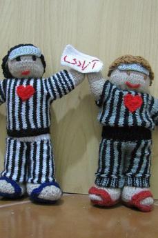 Pupazzi che celebrano gli attivisti per i diritti umani rinchiusi nel carcere di Evin (foto di jadijadi)