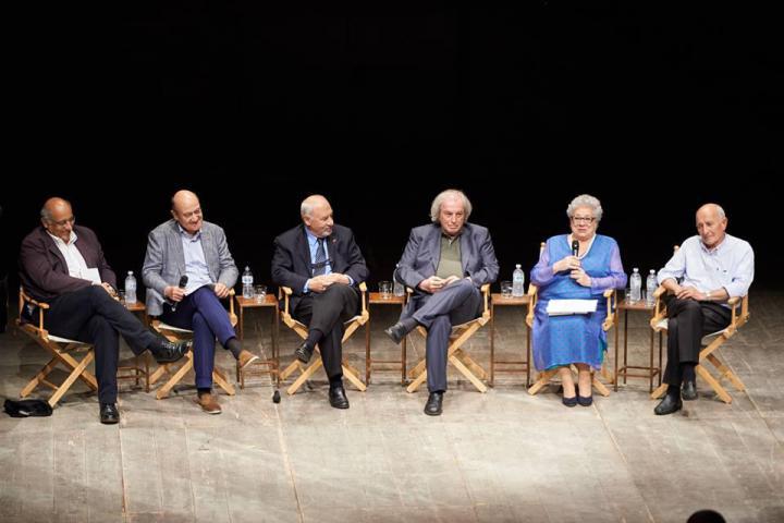 I relatori sul palco: Cataluccio, Nissim, Kuciukian, Ferrari, Pomodoro e Don Rigoldi