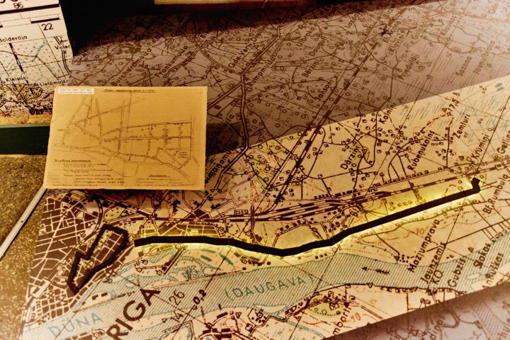 Mappa con in evidenza il perimetro del Ghetto di Riga negli anni delle deportazioni