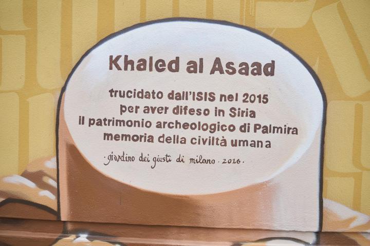 Il cippo dedicato a Khaled