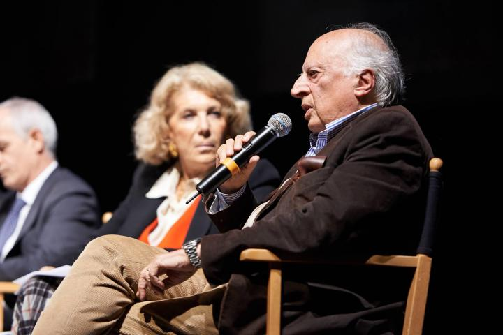 L'archeologo Paolo Matthiae durante il convegno al Piccolo Teatro Grassi dedicato a Khaled al-Asaad