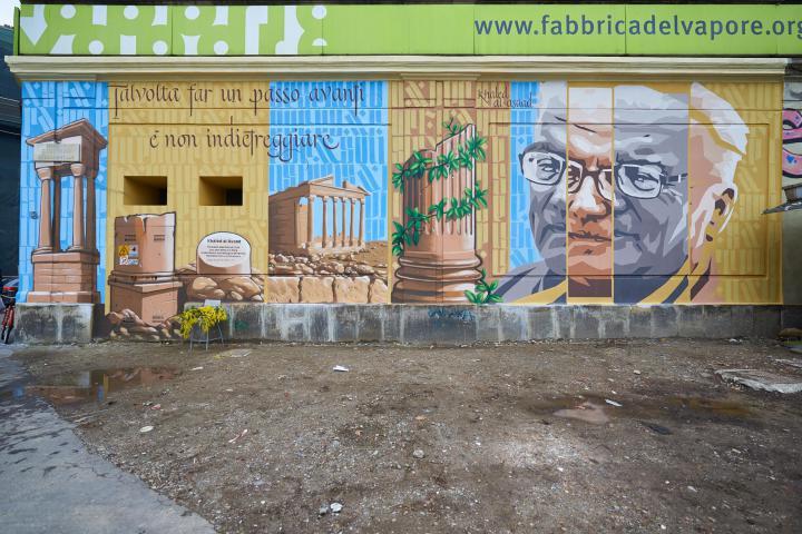 In occasione del 6 marzo, Giornata europea dei Giusti, abbiamo ricordato Khaled al-Asaad con un murale alla Fabbrica del Vapore