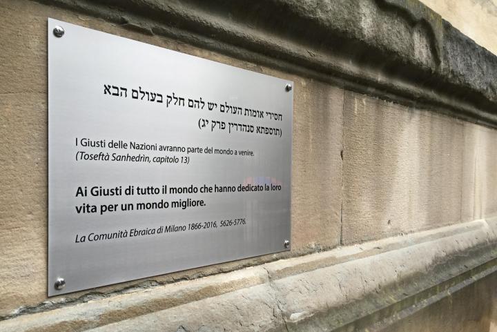 Il 29 maggio, dedica di una targa ai Giusti di tutto il mondo alla Sinagoga Centrale di Milano