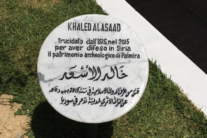 Il cippo dedicato a Khaled al-Asaad