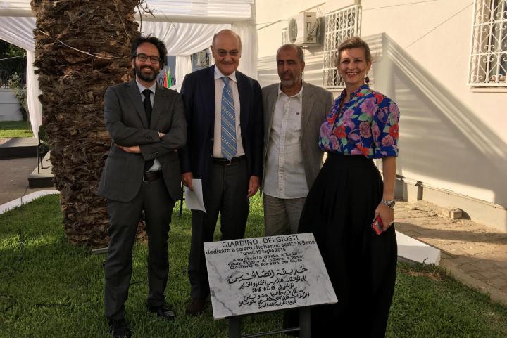 Lamberto Bertolè, Gabriele Nissim, la guida Hamadi ben Abdesslem e l'archeologa Cristina Miedico