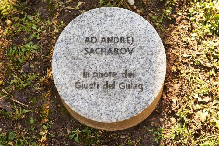 Il cippo sotto l'albero dedicato a Sacharov