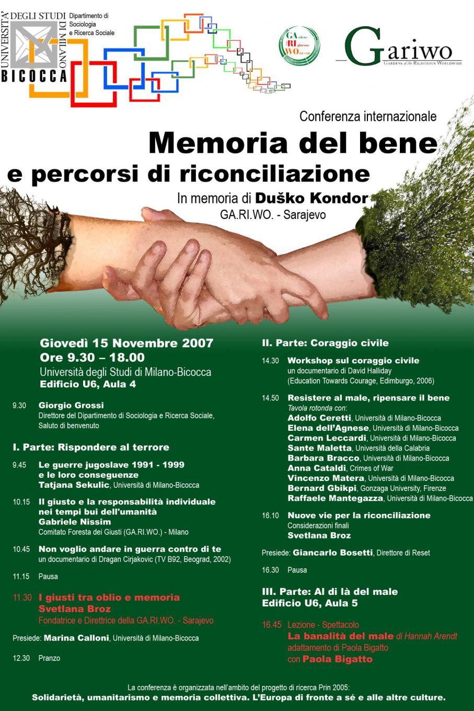2007 - Memoria del bene e percorsi di riconciliazione