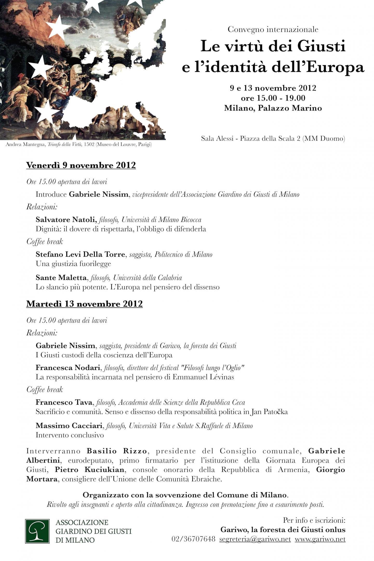 """2012 - Seminario """"Le virtù dei Giusti e l'identità dell'Europa"""""""