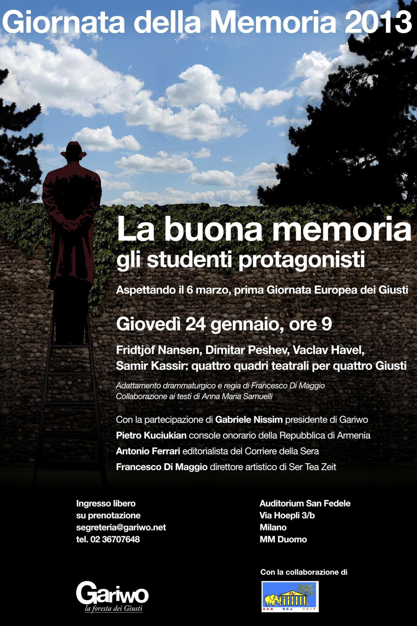 2013 - Gli studenti protagonisti per il Giorno della Memoria