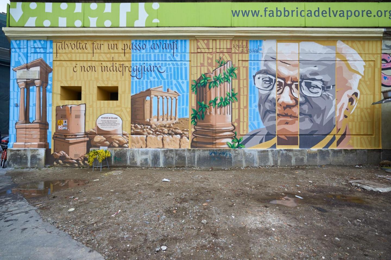 2016 - Il murale dedicato a Khaled al Asaad, alla Fabbrica del Vapore di Milano