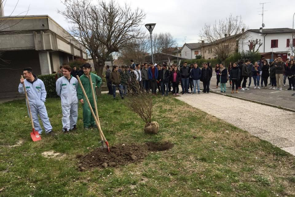 """Gli alunni dell' Istituto """"Calvi"""" e del Liceo """"Morandi"""" attorno al Giardino di Finale Emilia"""