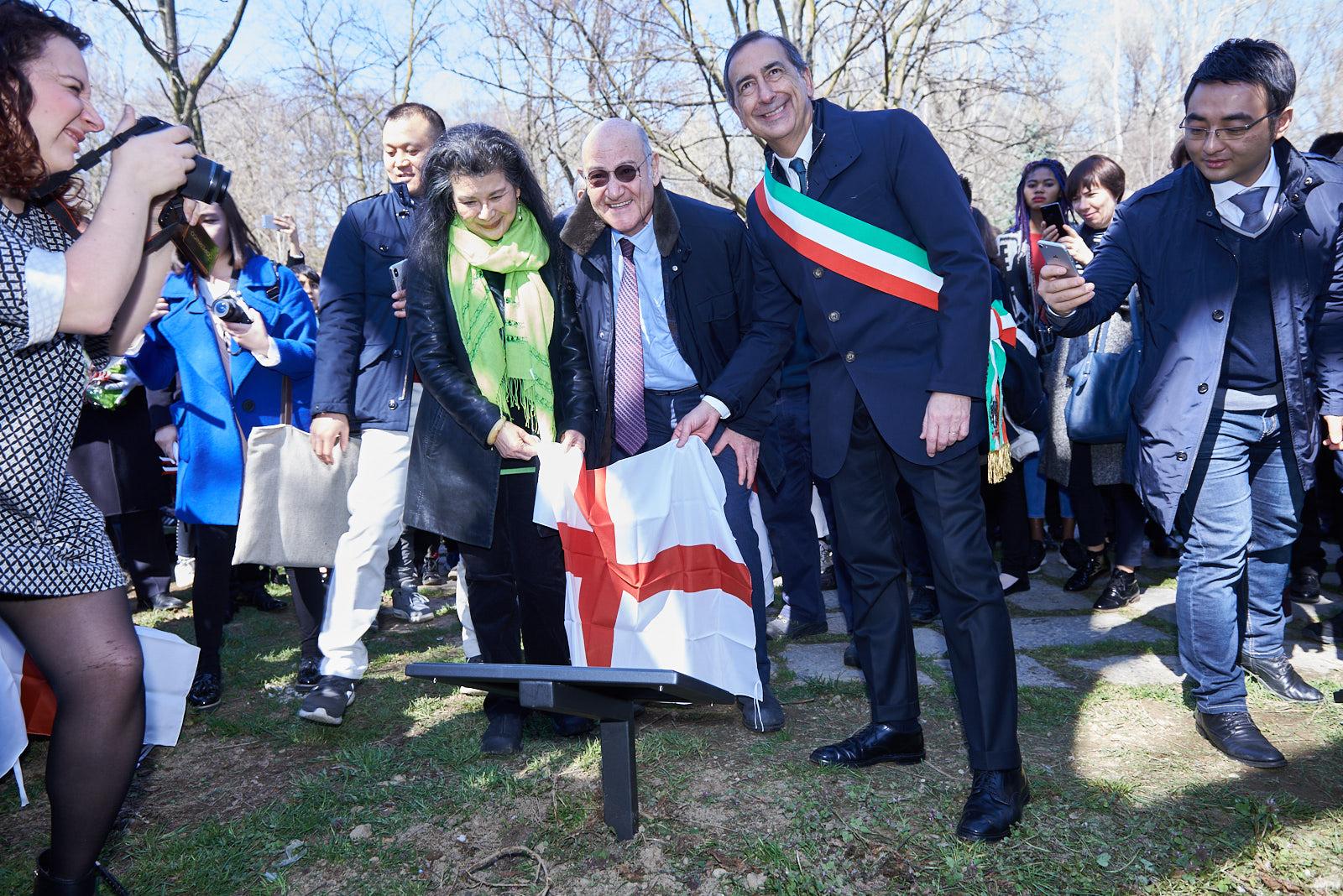con il presidente di Gariwo Gabriele Nissim e il sindaco di Milano Beppe Sala, alla Cerimonia del Monte Stella 2018