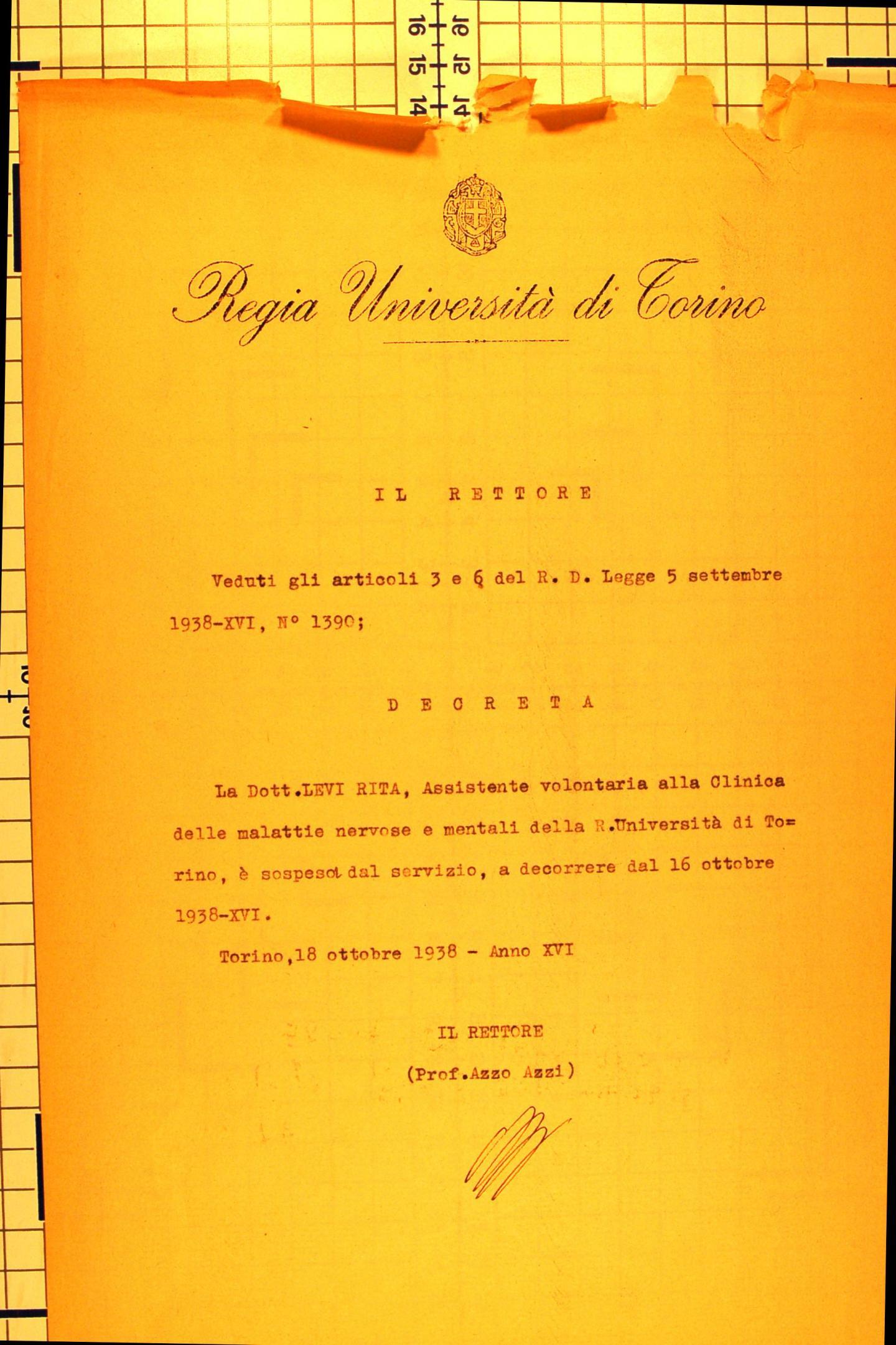 espulsione Rita Levi Montalcini. Archivio Università di Torino