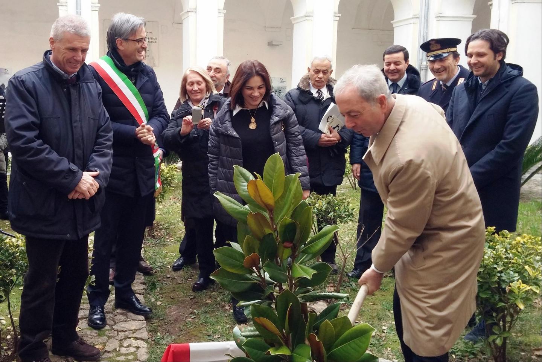 La piantumazione dell'albero di magnolia. Nella foto: il Questore di Salerno, Dott. Pasquale Errico.