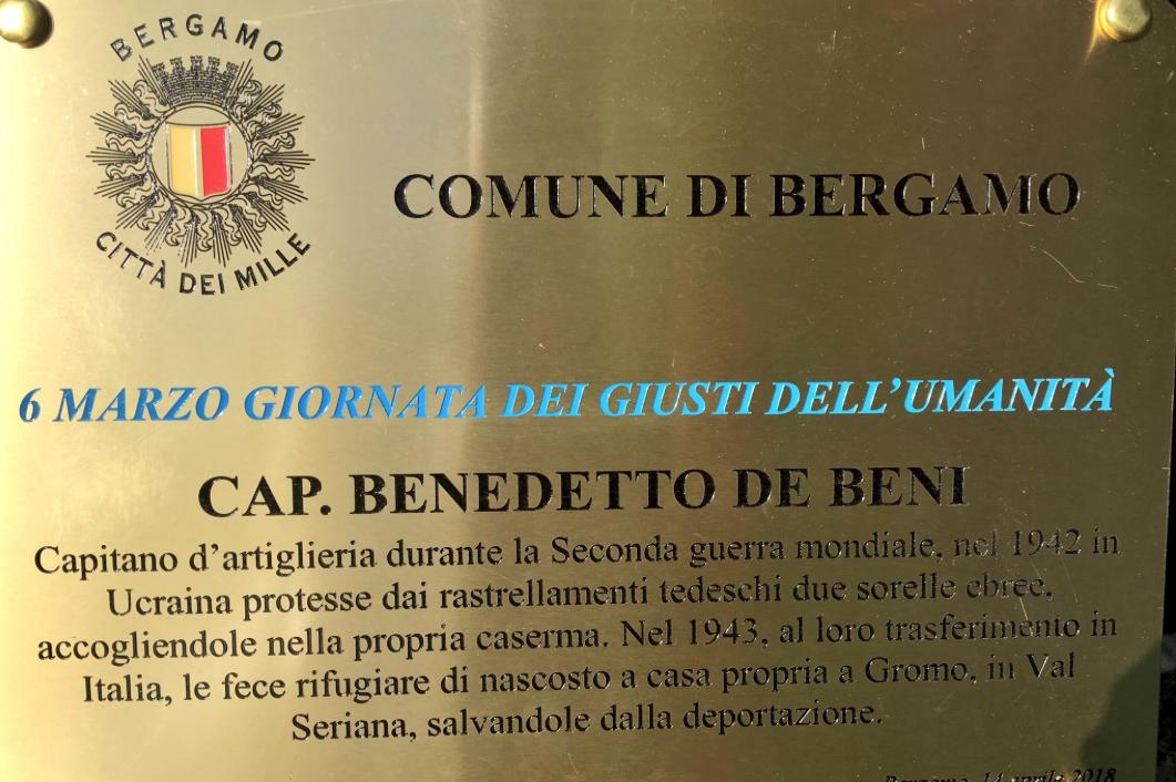 una targa per Benedetto De Beni al Giardino di Bergamo