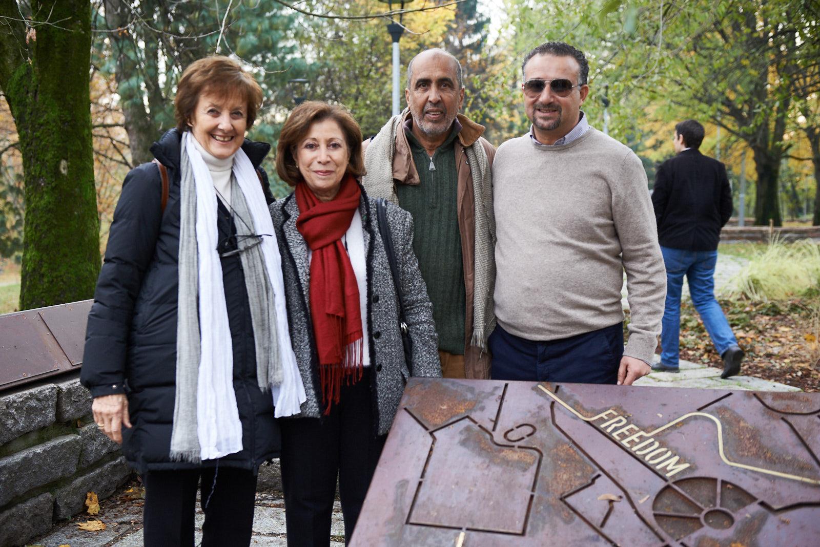 Anna Maria Samuelli, co-fondatrice di Gariwo, Rawdha Zaouchi, Assessore alle Arti e alla Cultura di La Marsa, Hamadi Ben Abdesslem, e Cherif Khalil, Sindaco di Sidi Bou Said