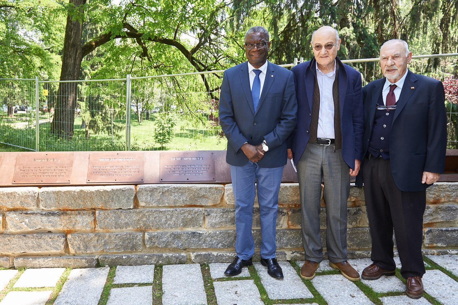 Il Dr. Mukwege con Gabriele Nissim, presidente di Gariwo e Pietro Kuciukian, Console onorario d'Armenia in Italia e co-fondatore di Gariwo