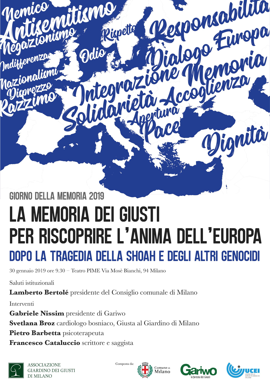La memoria dei Giusti per riscoprire l'anima dell'Europa - 2019