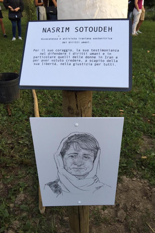 Targa dedicata a Nasrin Sotoudeh