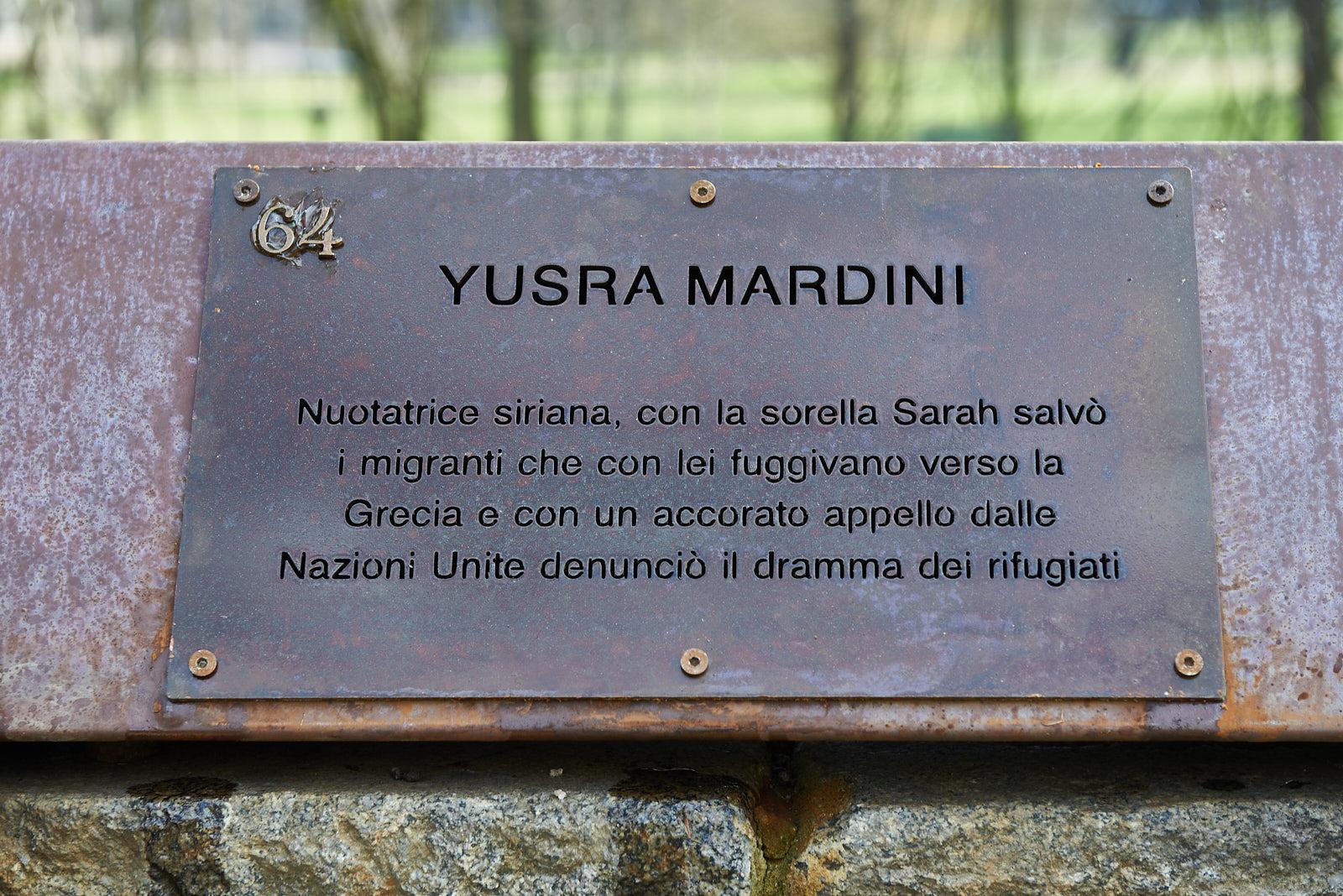 Targa dedicata a Yusra Mardini