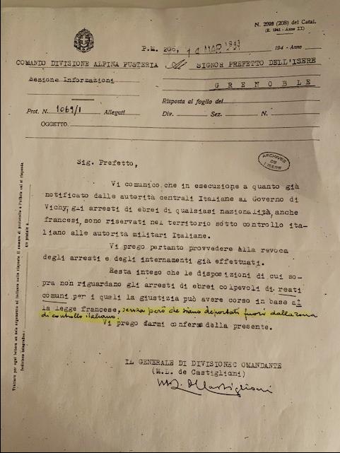 La lettera del Gen. de' Castiglioni al prefetto di Grenoble