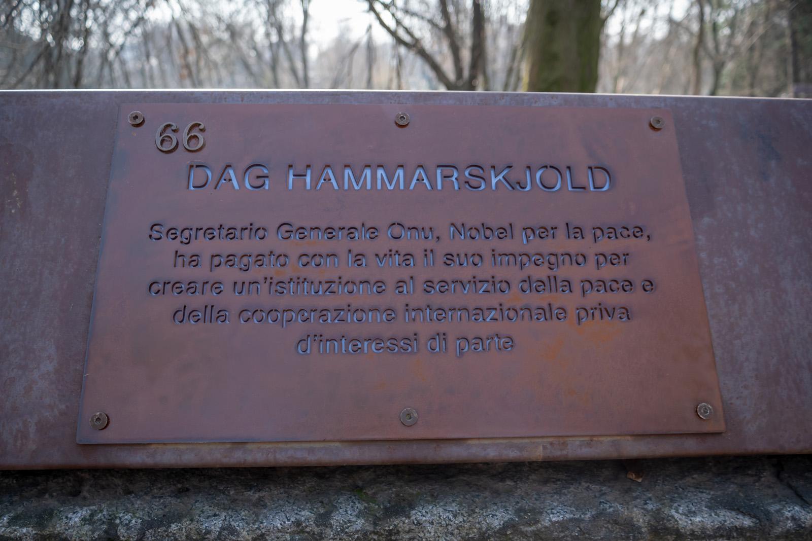 La targa per Dag Hammarskjold
