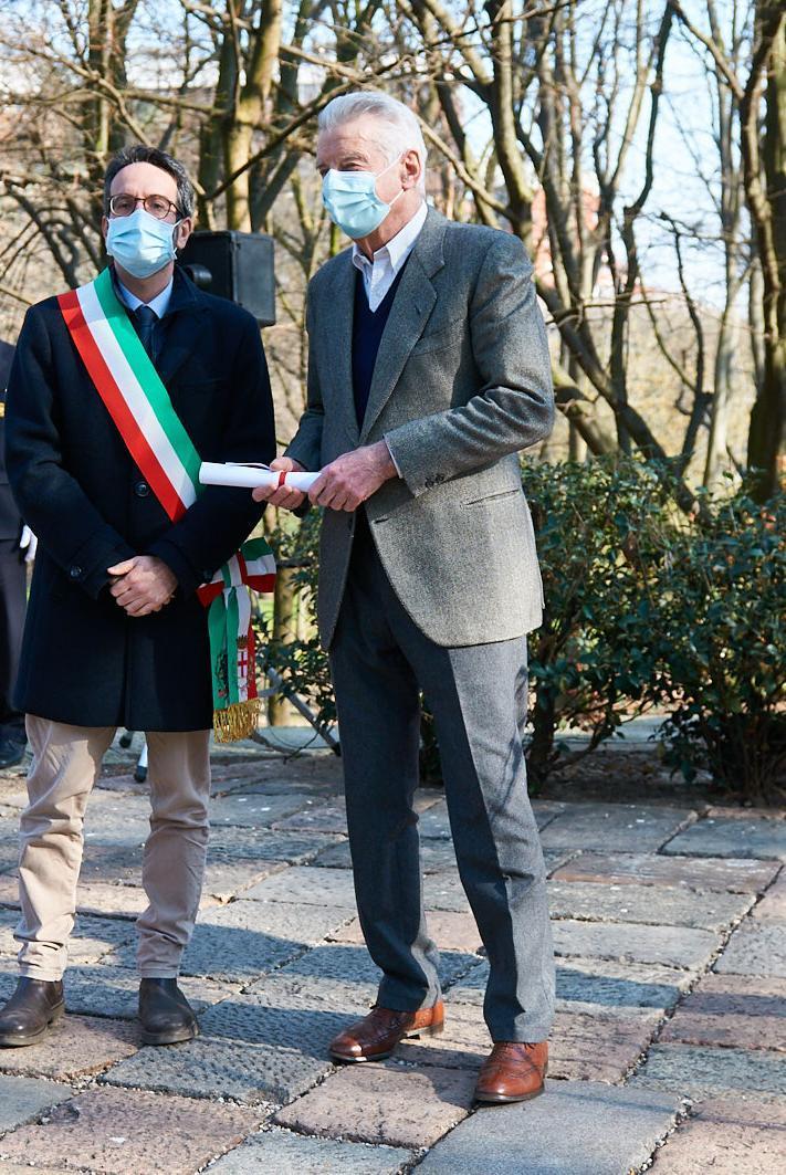 Lamberto Bertolé e Rinaldo Mascaretti, nipote della Giusta Maria Mascaretti
