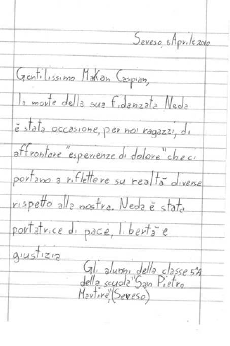 Una lettera indirizzata a Makan Caspian