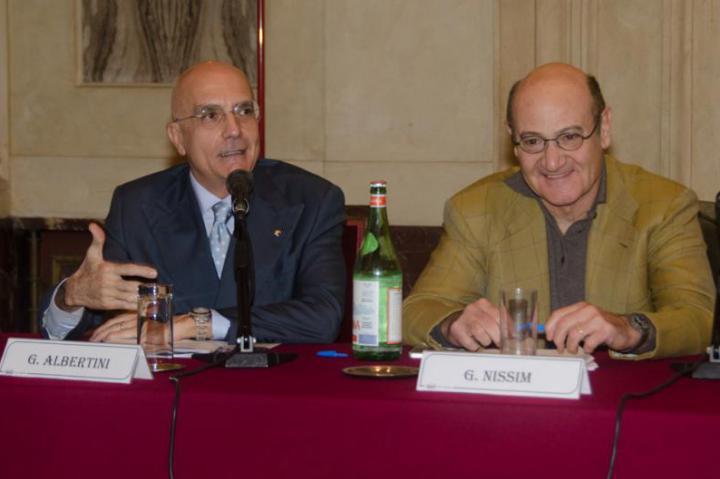 Gabriele Albertini, eurodeputato e primo firmatario per l'istituzione della Giornata Europea dei Giusti, e Gabriele Nissim
