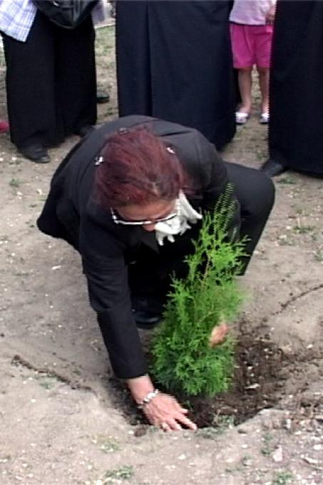 Rakel Dink pianta l'albero per Hrant Dink