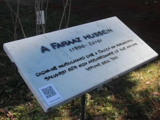 Una targa per Faraaz Hussein a Vercelli