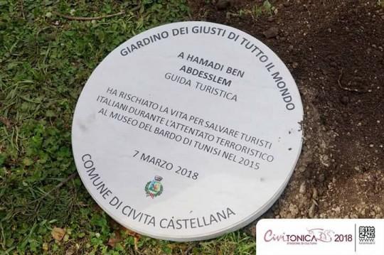 Una targa per Hamadi ben Abdesslem a Civita Castellana  (foto Civitonica Stagione Cultura 2018)