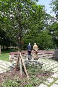 Di fronte alle targhe dedicate ai Giusti presso l'Albero della Memoria
